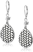 The Sak Basket Weave Silver Drop Earrings