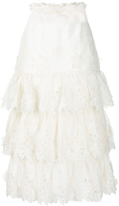 Zimmermann Tiered Lace Skirt