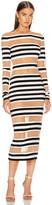 Norma Kamali Spliced Dress in 3/4 Stripe & Nude Mesh   FWRD