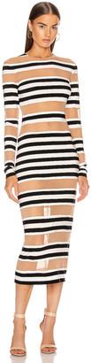 Norma Kamali Spliced Dress in 3/4 Stripe & Nude Mesh | FWRD
