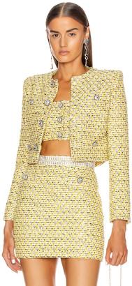 Alessandra Rich Sequin Tweed Crop Jacket in Yellow | FWRD