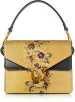 Coccinelle Ambrine Exotic Golden Lizard Printed Leather Satchel Bag
