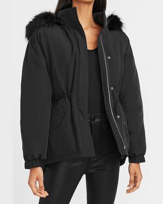 Express Hooded Shirttail Puffer Coat