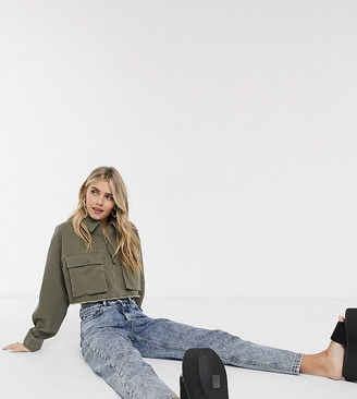 Reclaimed Vintage inspired cropped shacket with pocket detail in khaki