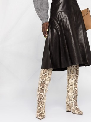 Arma Flared Leather Skirt