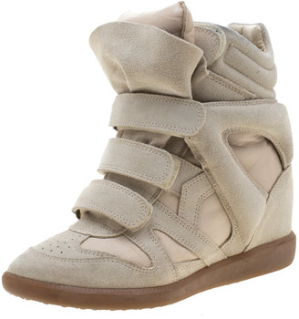 Isabel Marant Beige Suede And Leather Bekett Wedge Sneakers Size 38