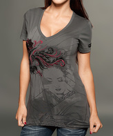 Rebel Spirit Charcoal & Red 'Rebel Spirit' Graphic V-Neck Tee - Women