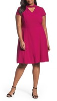 Tahari Plus Size Women's Mock Choker Neck A-Line Dress
