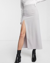 Thumbnail for your product : Weekday Amani straight midi skirt with side slit in light grey
