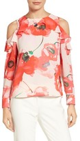 CeCe Women's Ruffled Cold Shoulder Floral Blouse