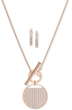 Swarovski Rose Gold-Tone Pave Coin Pendant Necklace & Hoop Earrings Set