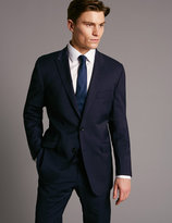 Marks And Spencer Navy Tailored Fit Wool Rich With Lycra Suit