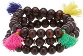 Anna & Ava Anisha Beaded Tasseled Wood Stretch Bracelet Set