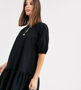 Asos Tall DESIGN Tall textured smock dress with tiered hem in black