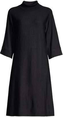 Eileen Fisher Wool Mockneck Three-Quarter Sleeve Dress
