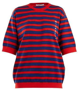 Givenchy Logo Print Striped Cotton Blend Sweater - Womens - Red Multi