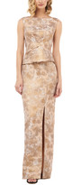 Kay Unger Sleeveless Scoop Neck Jacquard Gown