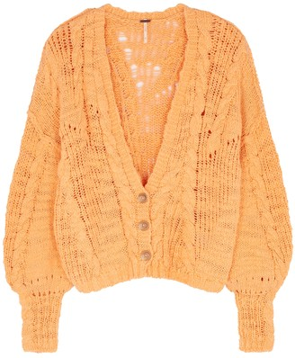 Free People Sandstorm orange cable-knit cotton-blend cardigan