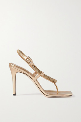 Serena Uziyel - Iris Metallic Rope And Faux Leather Sandals - Gold