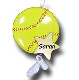 Personalized Sports Ball and Shoes Christmas Ornament (Softball)