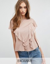 Missguided Exclusive Ruffle Front T-Shirt