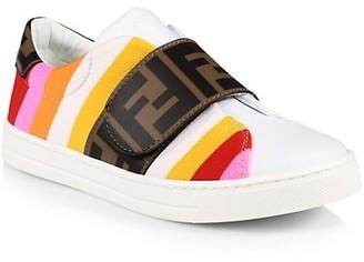 Fendi Little Girl's & Girl's Striped Leather Logo Sneakers
