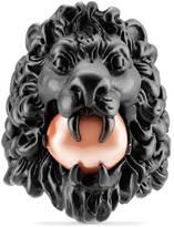 Gucci Bague tête de lion avec perle
