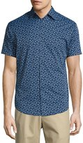 Peter Millar Frenchman Performance Floral-Print Short-Sleeve Sport Shirt, Navy