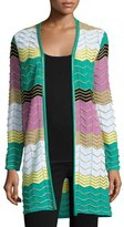 M Missoni Long Colorblocked Zigzag Cardigan, Multi