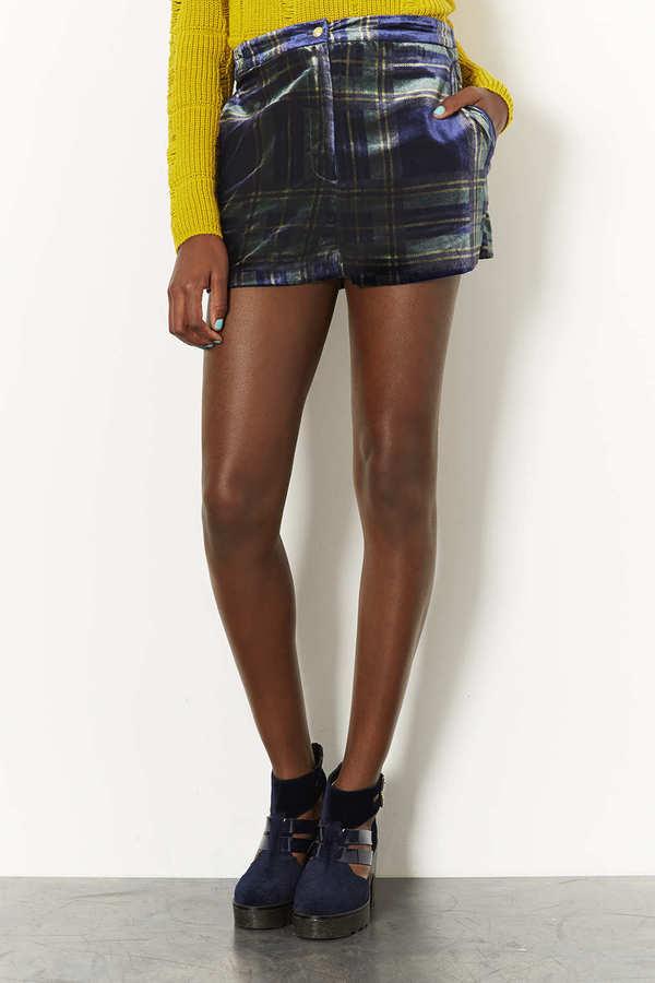 Topshop Navy Check Velvet Shorts