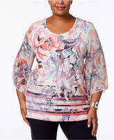 JM Collection Plus Size Printed Kimono-Sleeve Tunic, Created for Macy's