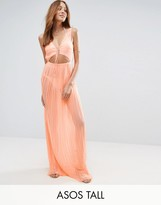 Asos Tall Pleated Beach Maxi Dress With Strapping