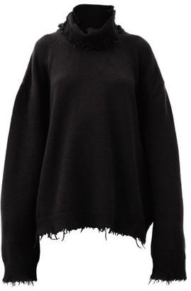 Vetements Oversized Raw-edged Wool-blend Knit Sweater - Black