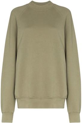 LES TIEN Mock Neck Cotton Sweatshirt