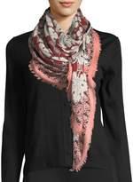 Fendi Silk-Wool Heritage Shawl, Red Pattern