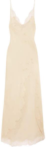 Carine Gilson Appliquéd Chantilly Lace-trimmed Silk-satin Nightdress - Cream