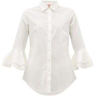 Le Sirenuse Le Sirenuse, Positano - Nina Trumpet Sleeve Cotton Shirt - Womens - White