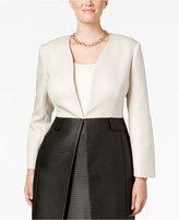 Kasper Plus Size Dot-Jacquard Colorblock Jacket