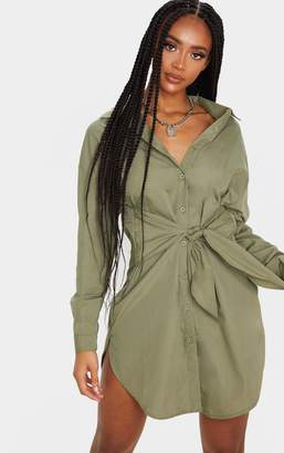 PrettyLittleThing Khaki Tie Front Long Sleeve Shirt Dress