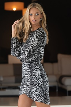 Liena LIENA Grey Leopard Wrap Skirt Mini Dress