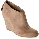 Anne Klein Taupe Torny Wedge Ankle Booties