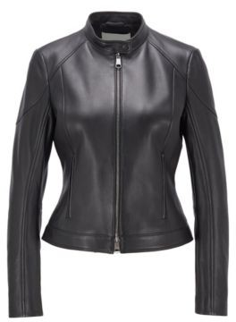 BOSS Regular-fit jacket in lamb leather with stand collar