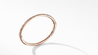 David Yurman Cable Hinged Bangle Bracelet In 18K Rose Gold With Pave