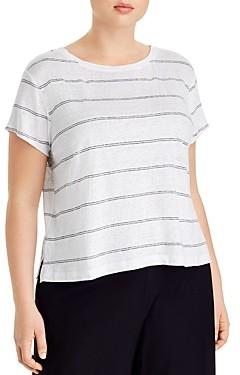 Eileen Fisher Plus Organic Linen Striped Tee