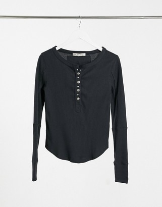 We The Free by Free People henley long sleeve T-shirt in faded black