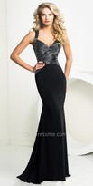 Tony Bowls Le Gala Portrait Column Beaded Prom Gown