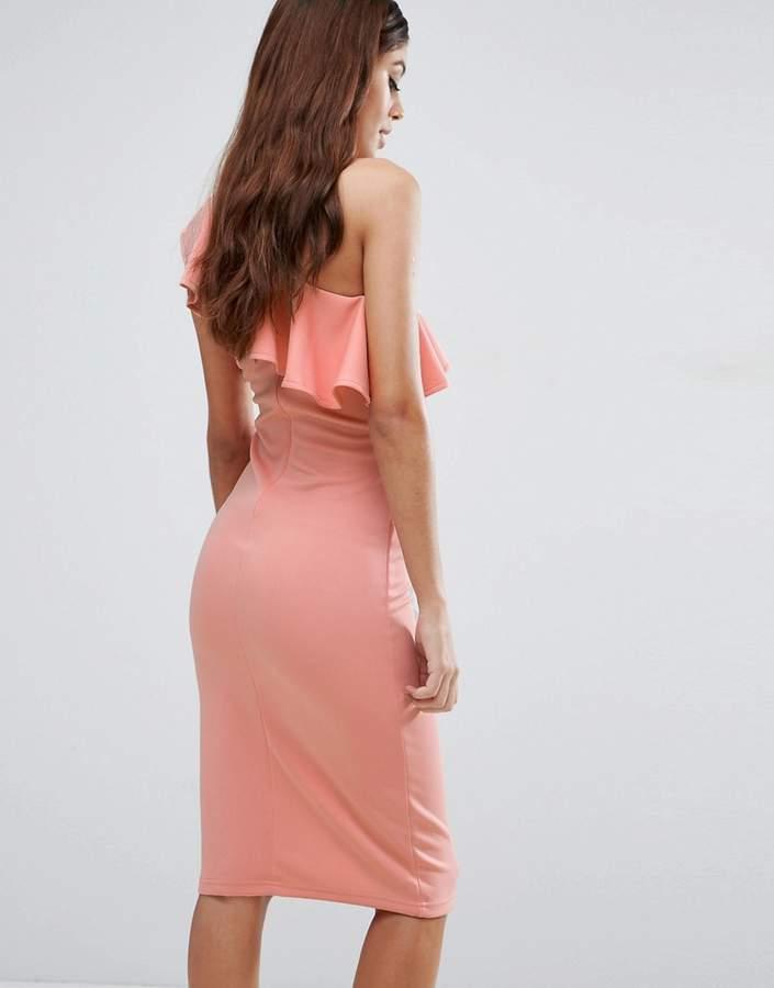 Rare One Shoulder Frill Midi Dress