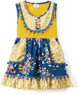Lulu Ruffles By Tutu And Ruffles by Tutu and Girls' Casual Dresses - Mustard & Cobalt Floral Pom Pom-Trim A-Line Dress - Toddler & Girls