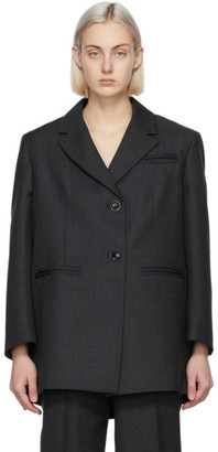Ganni Grey Wool Suiting Oversized Blazer