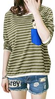 uxcell® Women Long Sleeves Stripes Cat Letters Prints One Pocket T-Shirt